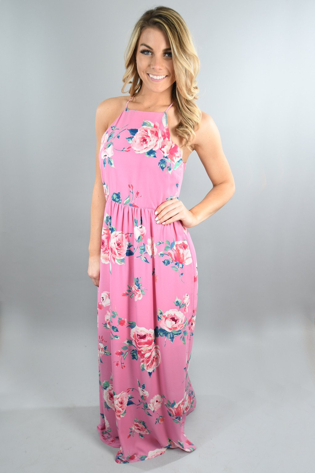 Feeling Magical in Pink Floral Maxi Dress