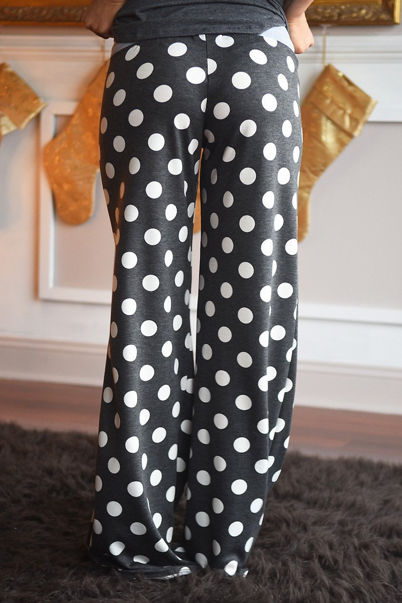 Polka Dot Lounge Pants ~ Charcoal