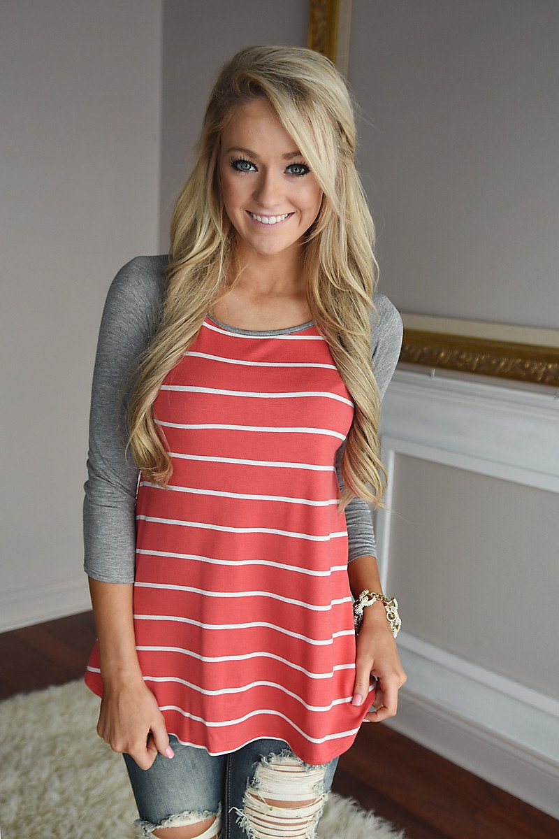 Pretty In Coral Striped Top