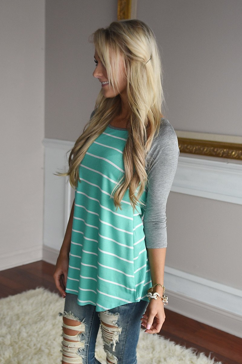 Pretty In Mint Striped Top