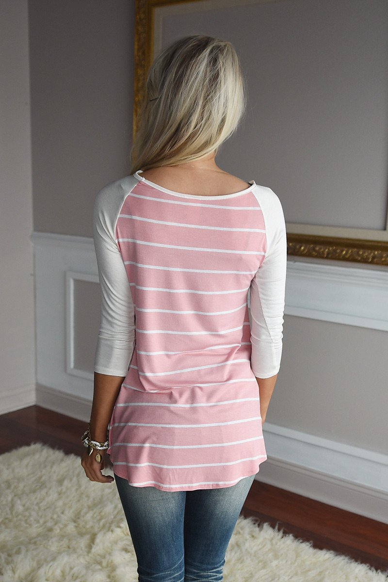 Pretty In Pink Striped Top