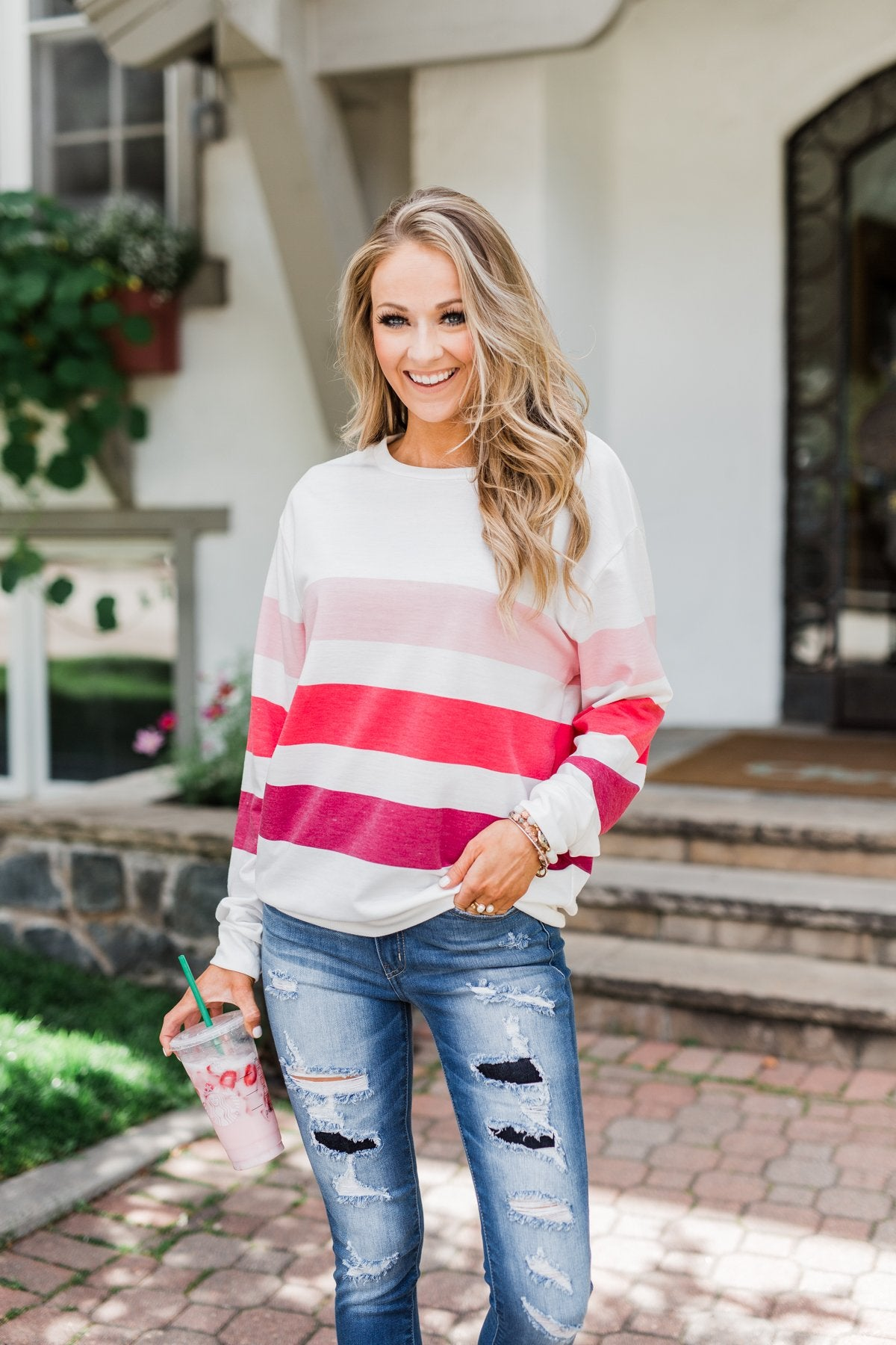 Dreaming of You Striped Pullover Top- Berry Mix