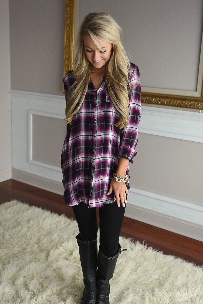 Purple Plaid Button Down