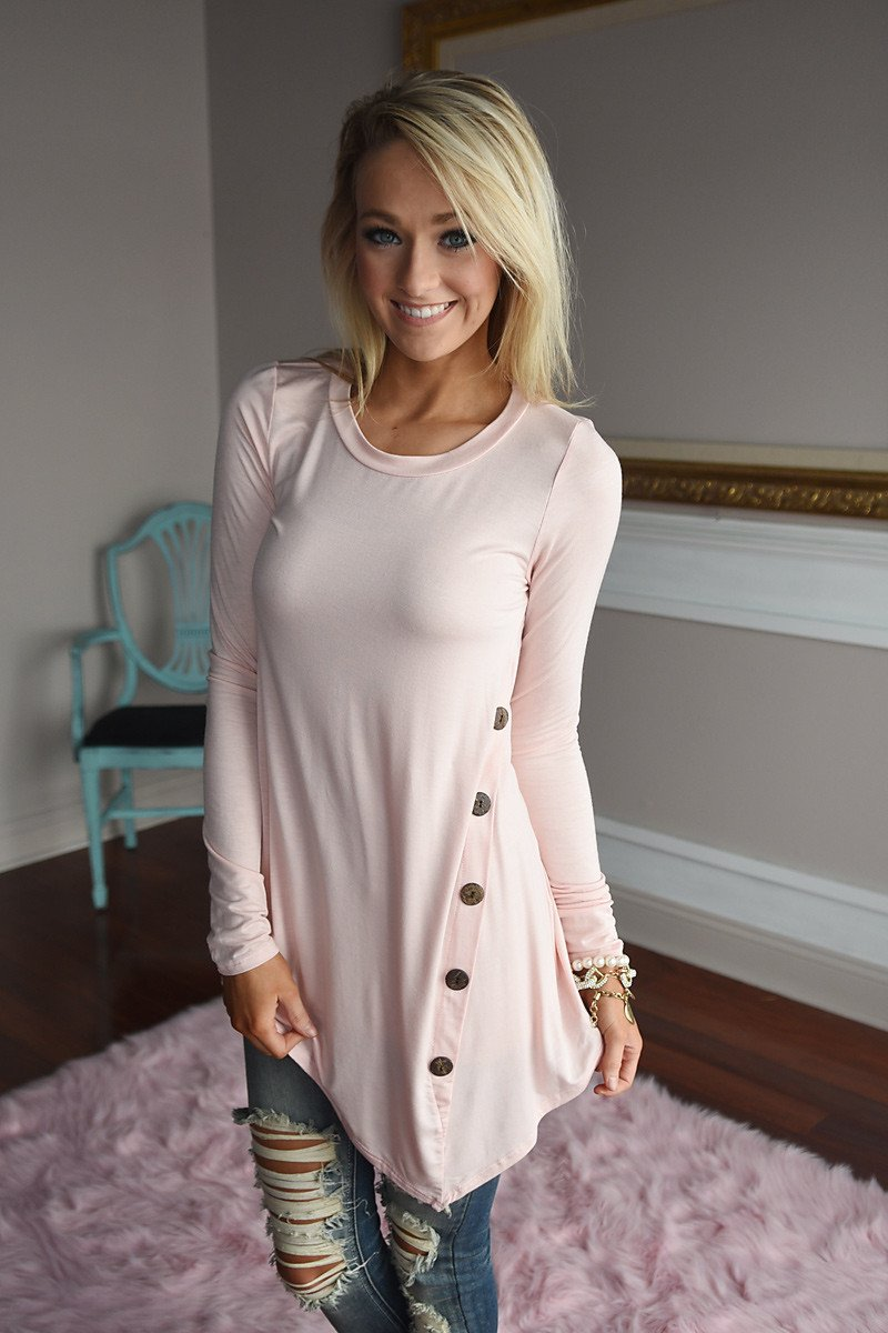 Push My Buttons Top ~ Light Pink