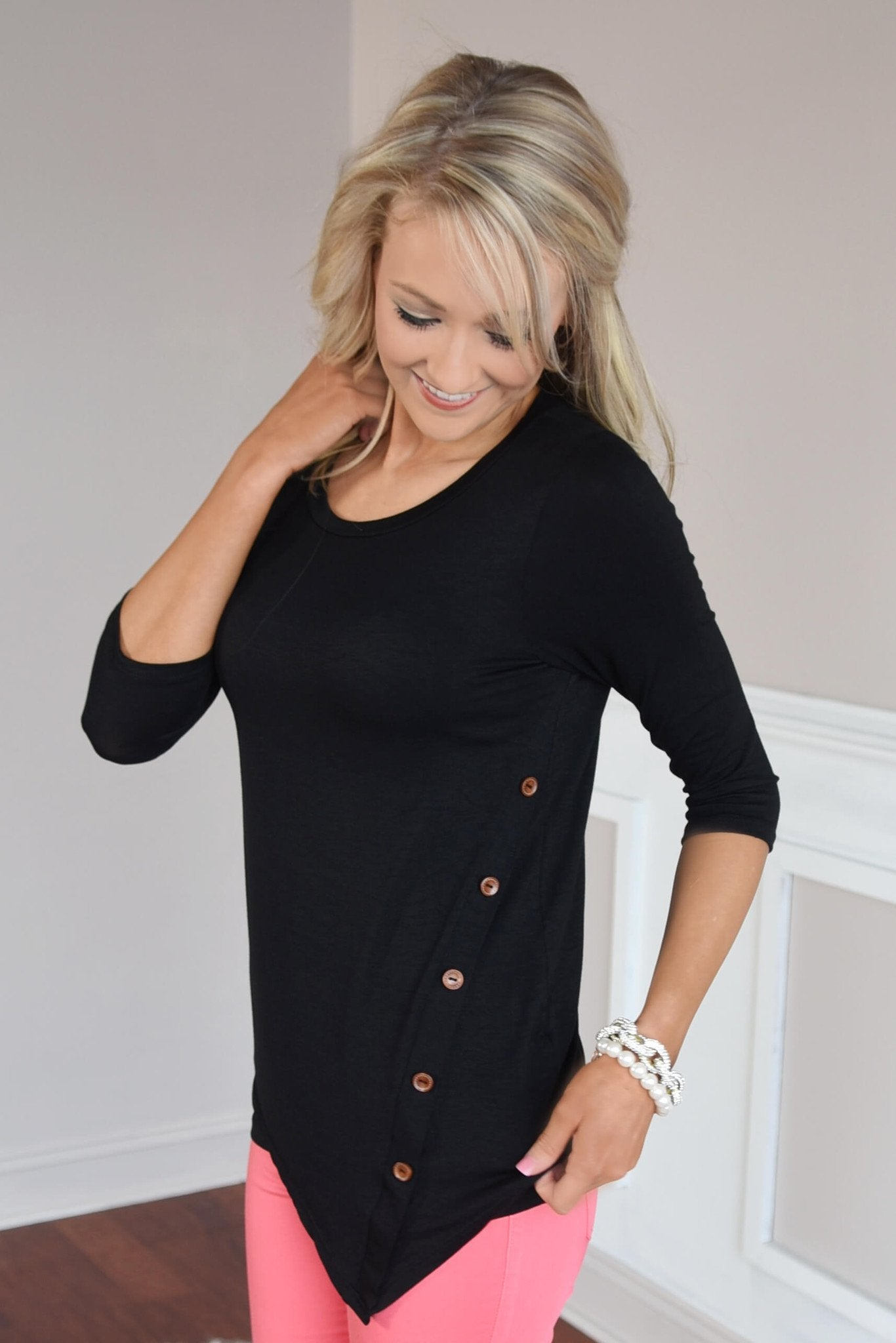 Baby I'm Yours Button Top - Black