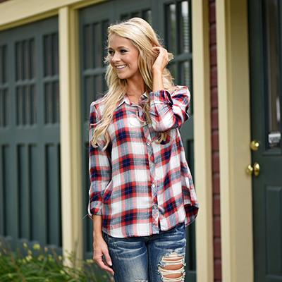 Traditional Orange & Navy Flannel Top