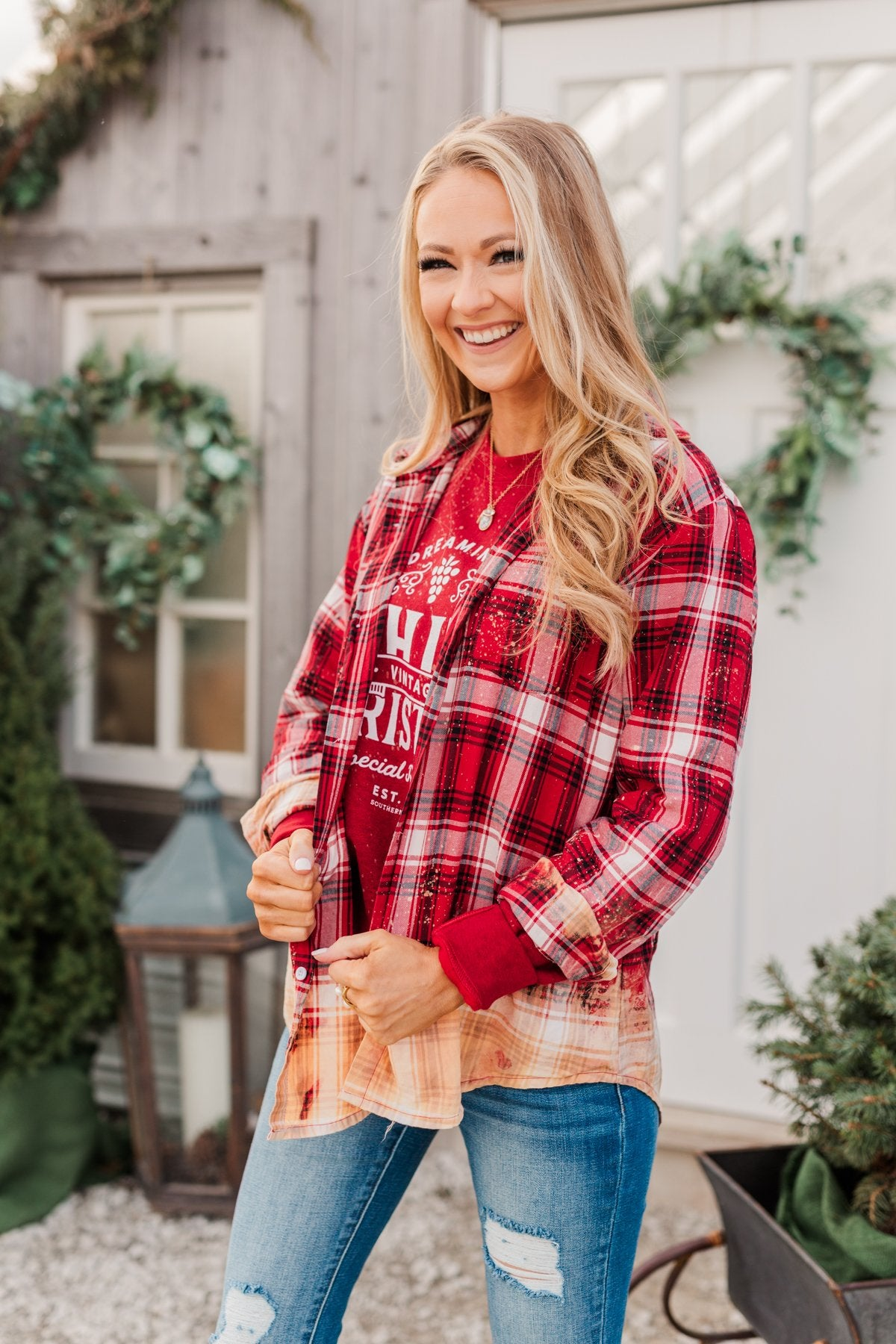 Make Them Look Bleach Dipped Plaid Top- Red