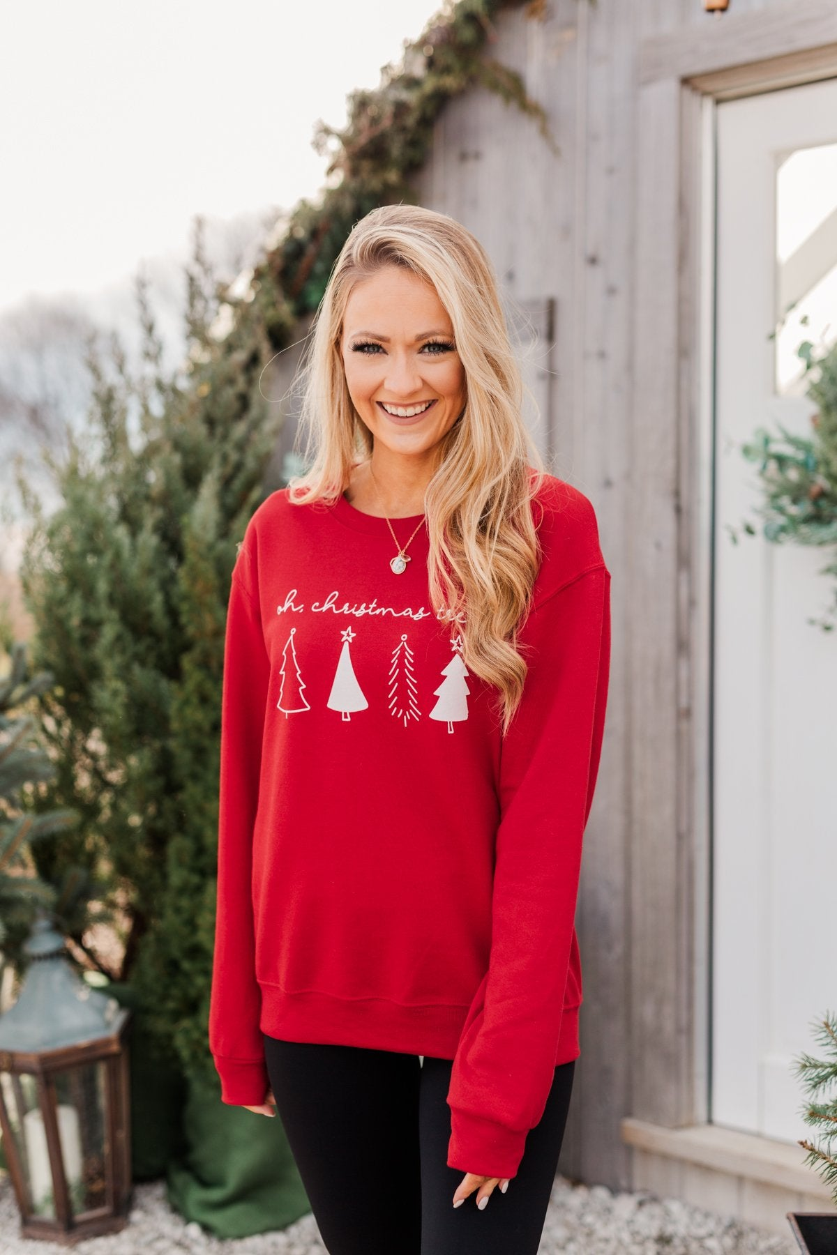 """Oh Christmas Tree"" Graphic Crewneck Pullover- Holiday Red"