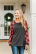 Thankful For You Long Sleeve Top- Red & Charcoal