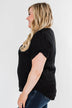 Basic Beauty V-Neck Short Sleeve Top- Black