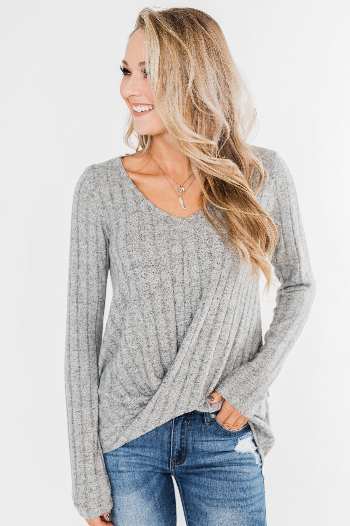 Path To Happiness Long Sleeve Twist Top- Heather Grey