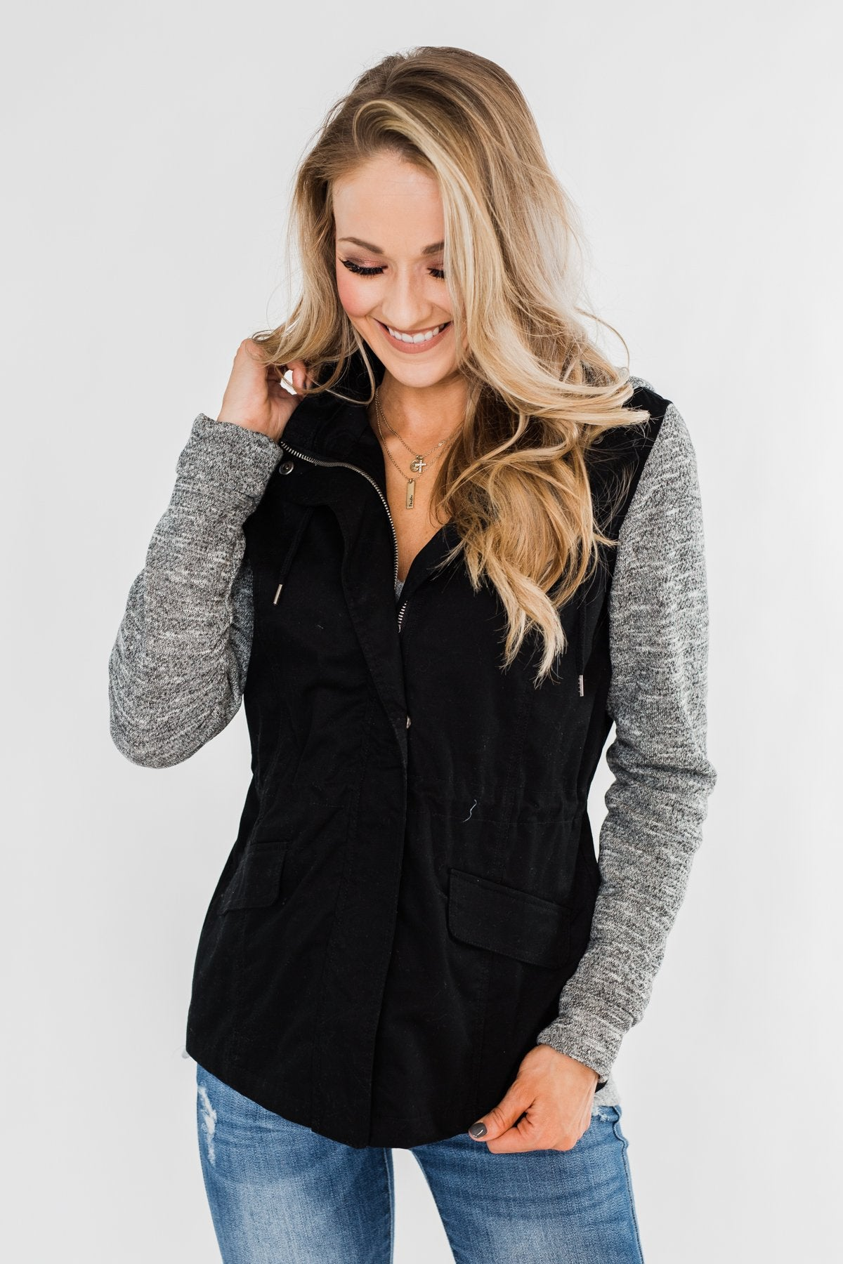 Lightweight Hooded Jacket- Black