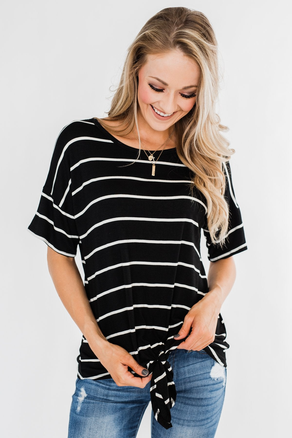 Shine The Way You Do Striped Top- Black