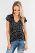Wild Adventures V-Neck Leopard Top- Charcoal