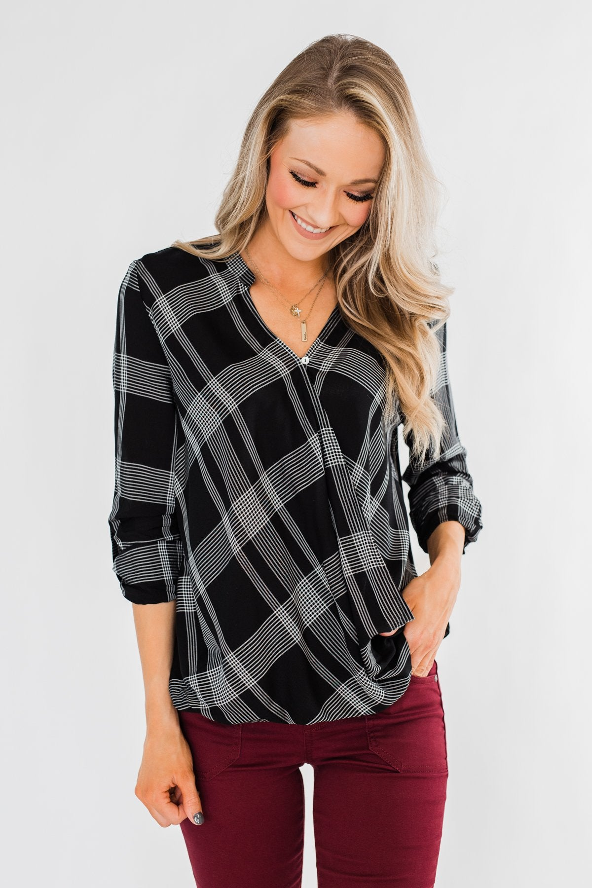 A Day In The Sun Light Flannel Blouse- Black
