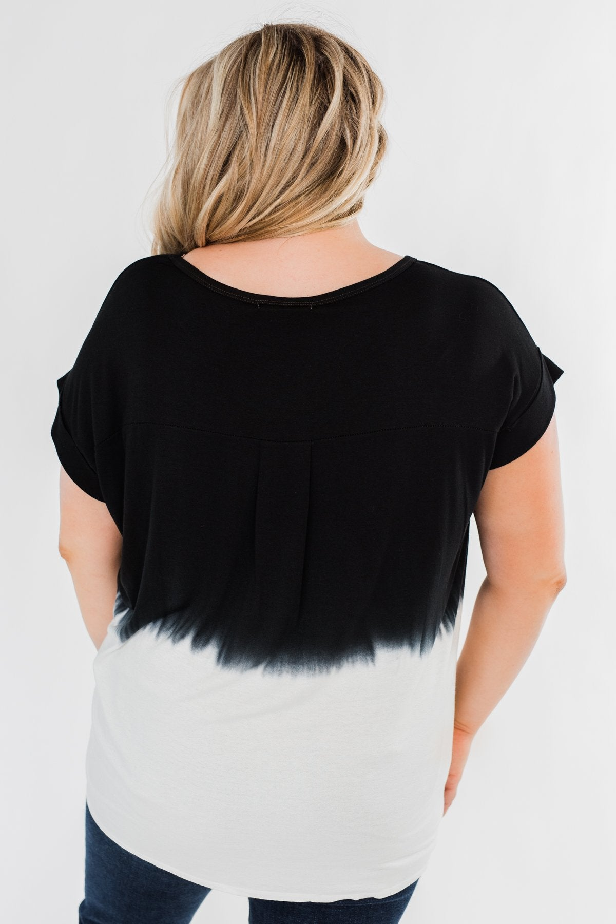 Leave You With A Smile Ombre Top- Black & Ivory