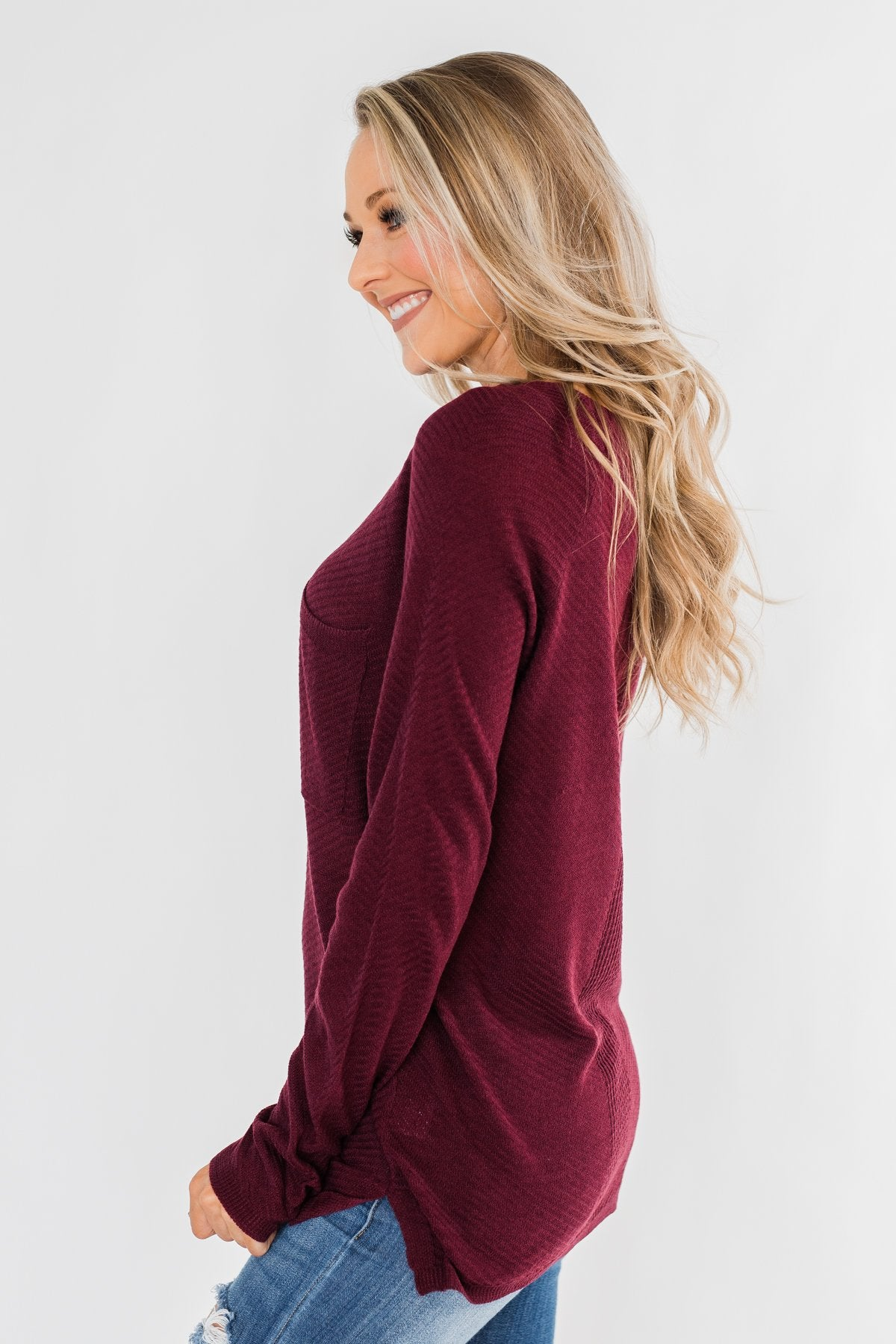 Spread The Love Knit Sweater- Burgundy