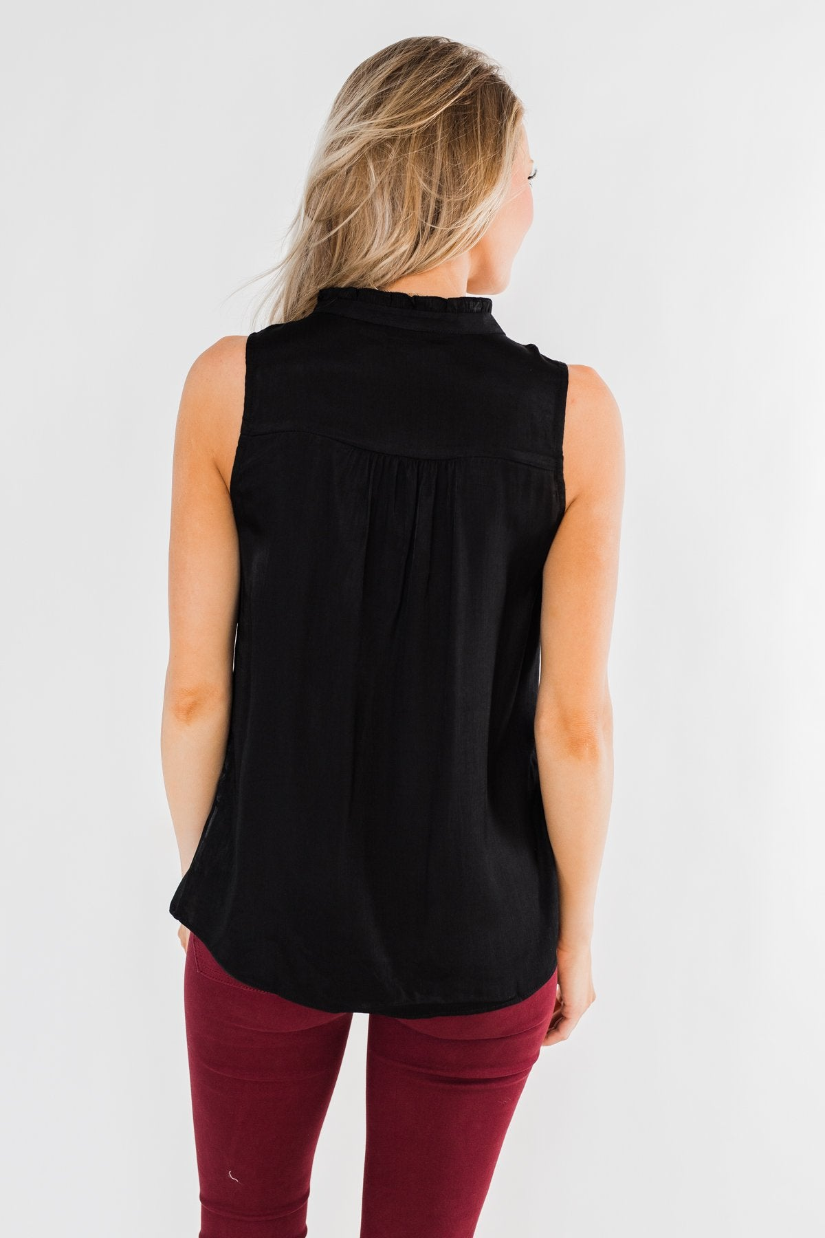 Always Had A Feeling Ruffled Tank Top- Black