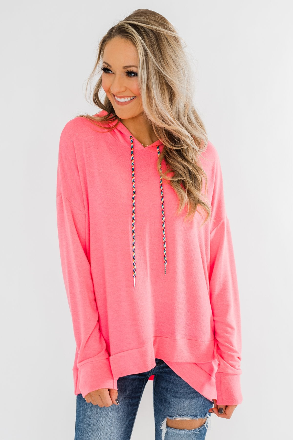 Be Happy Long Sleeve Pullover- Neon Pink