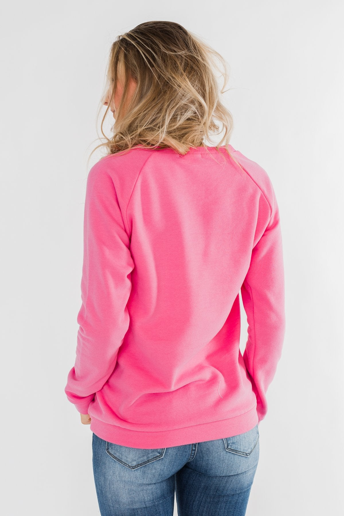 Pulse Exclusive Striped Floral Pullover- Pink & Navy