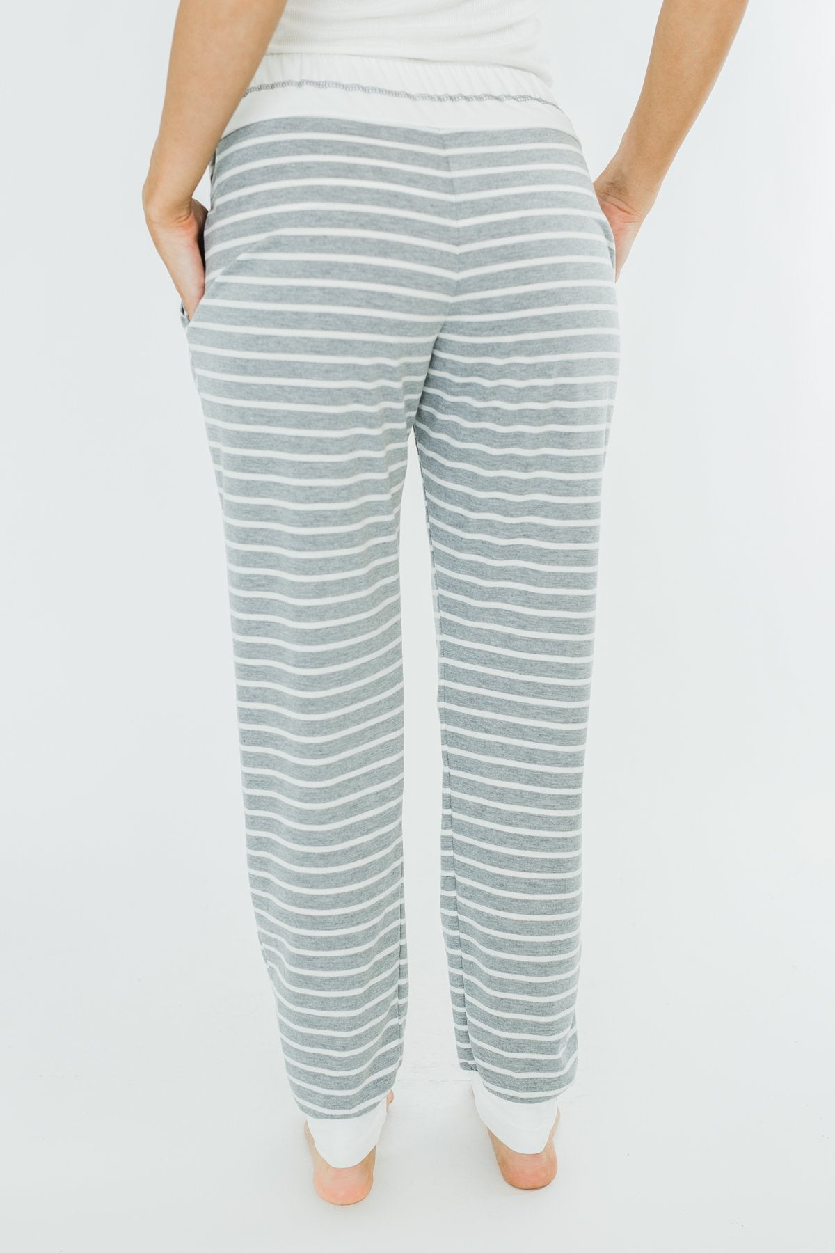 Cozy Striped Joggers- Heather Grey & Ivory