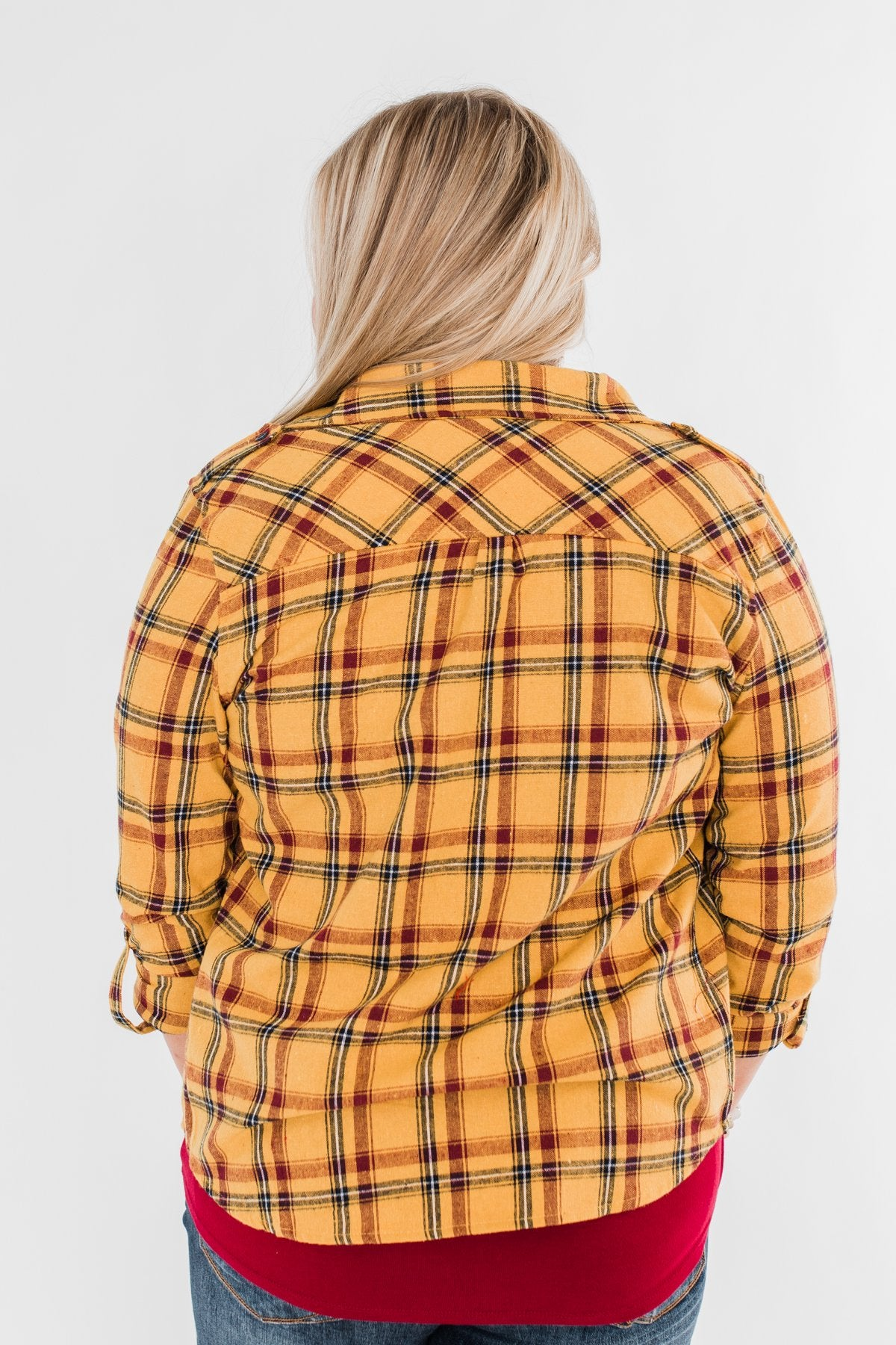 I've Been Told Long Sleeve Plaid Top- Mustard