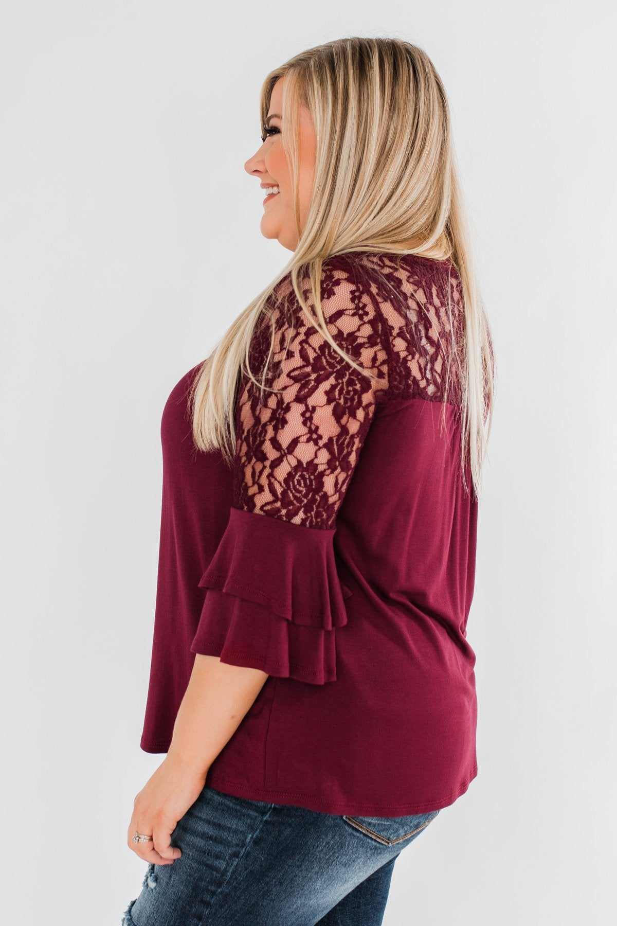 Right Beside Me Lace & Ruffles Top- Burgundy