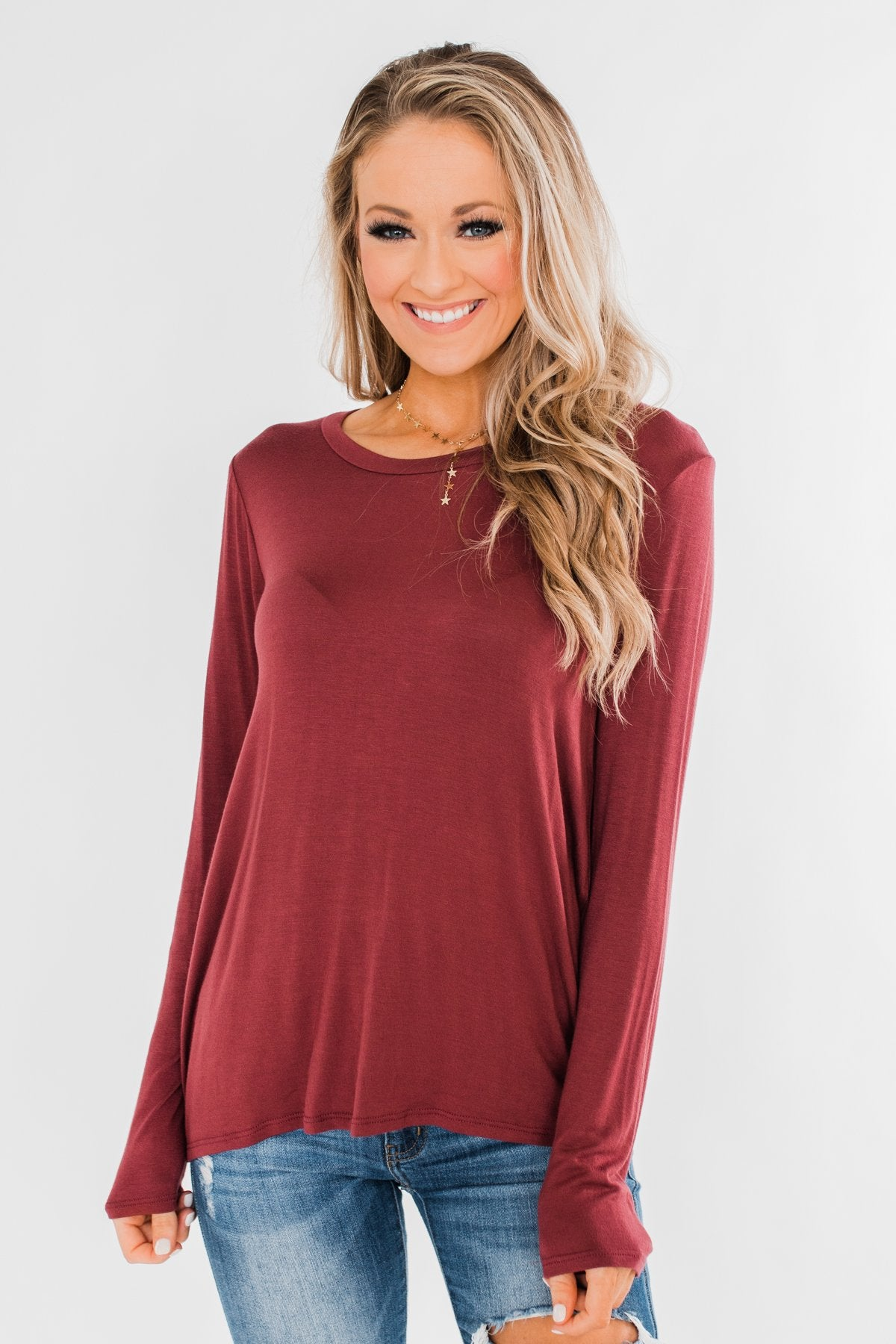 Cut Out Back Long Sleeve Top- Dusty Maroon