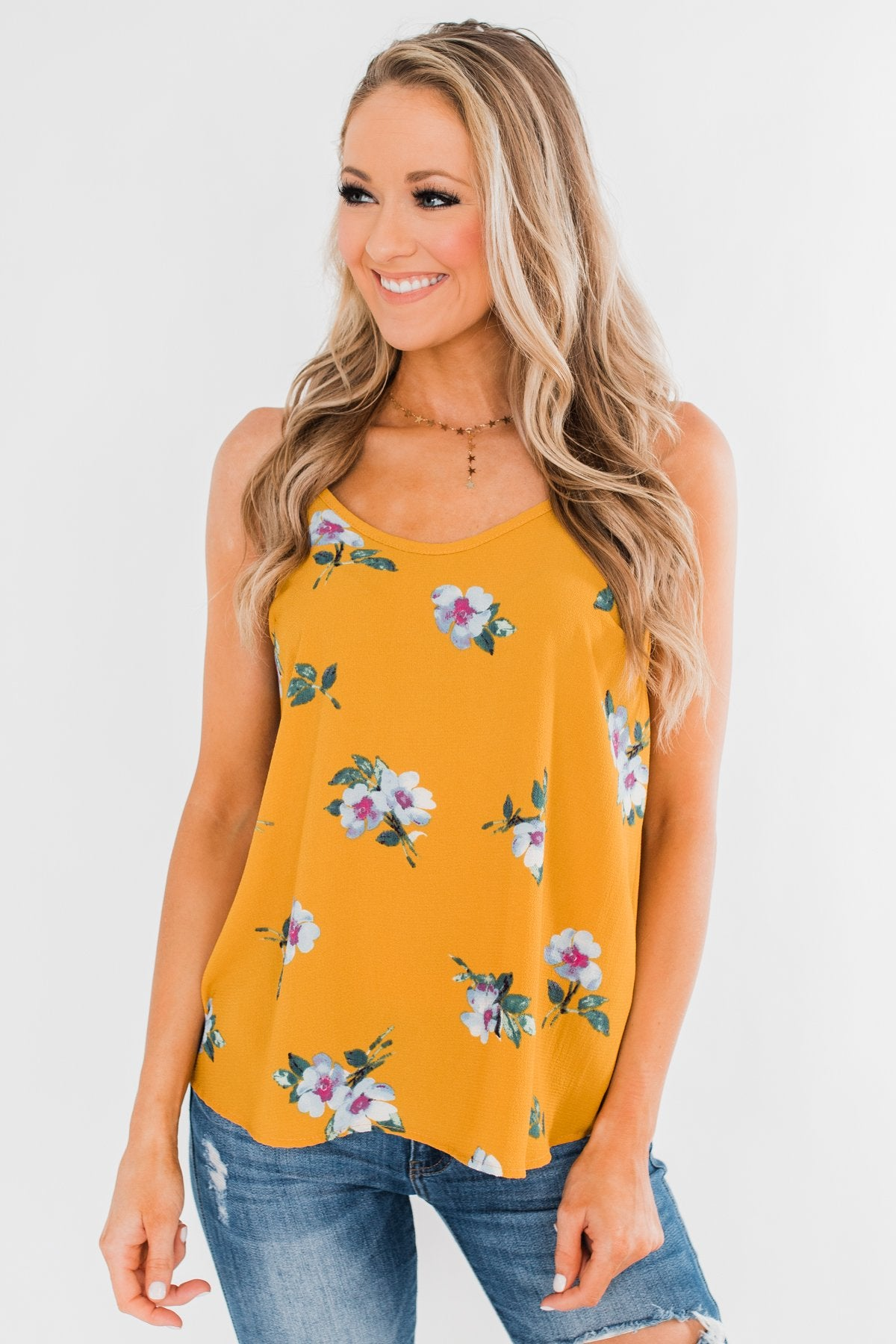 Sure as the Sun Floral Tank Top- Mustard