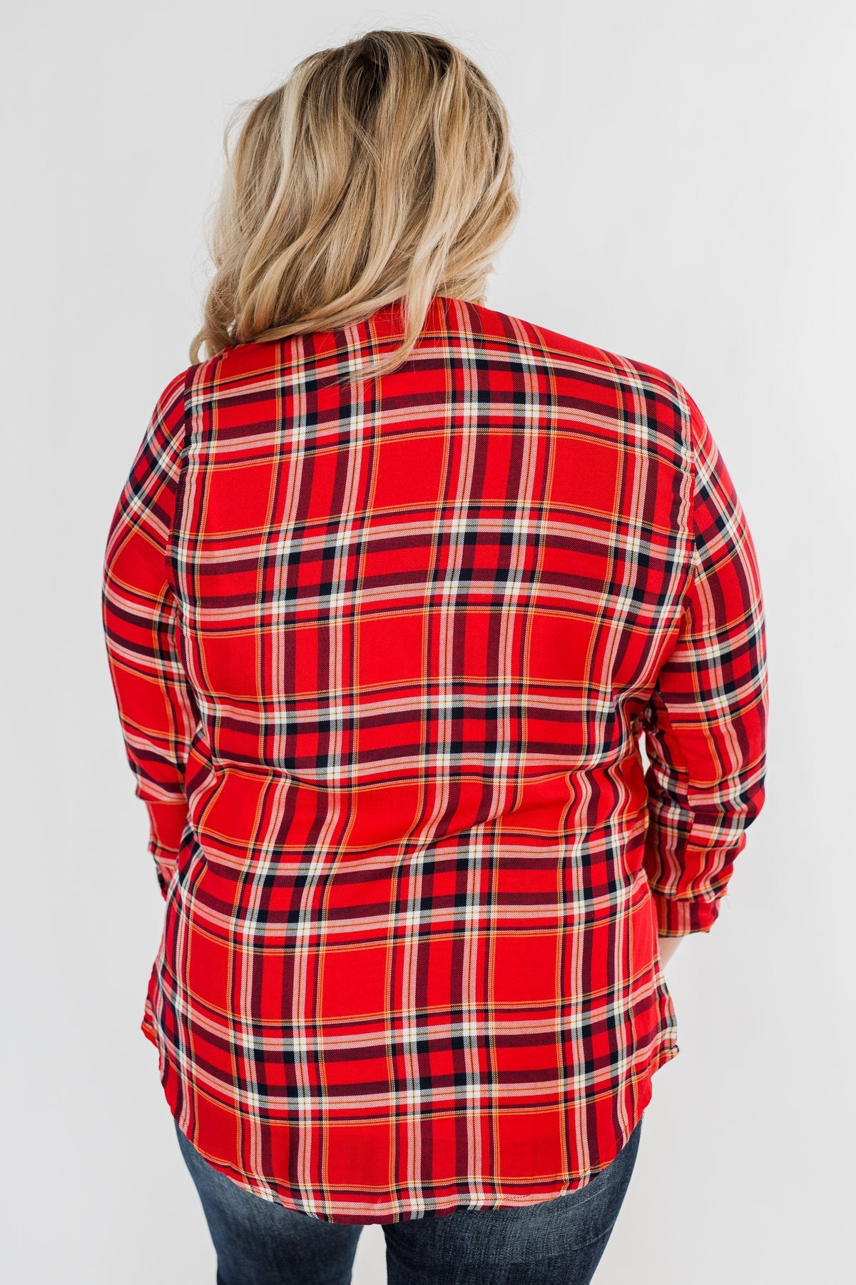 Hello Flannel Button Up Top- Red, Yellow, & Navy