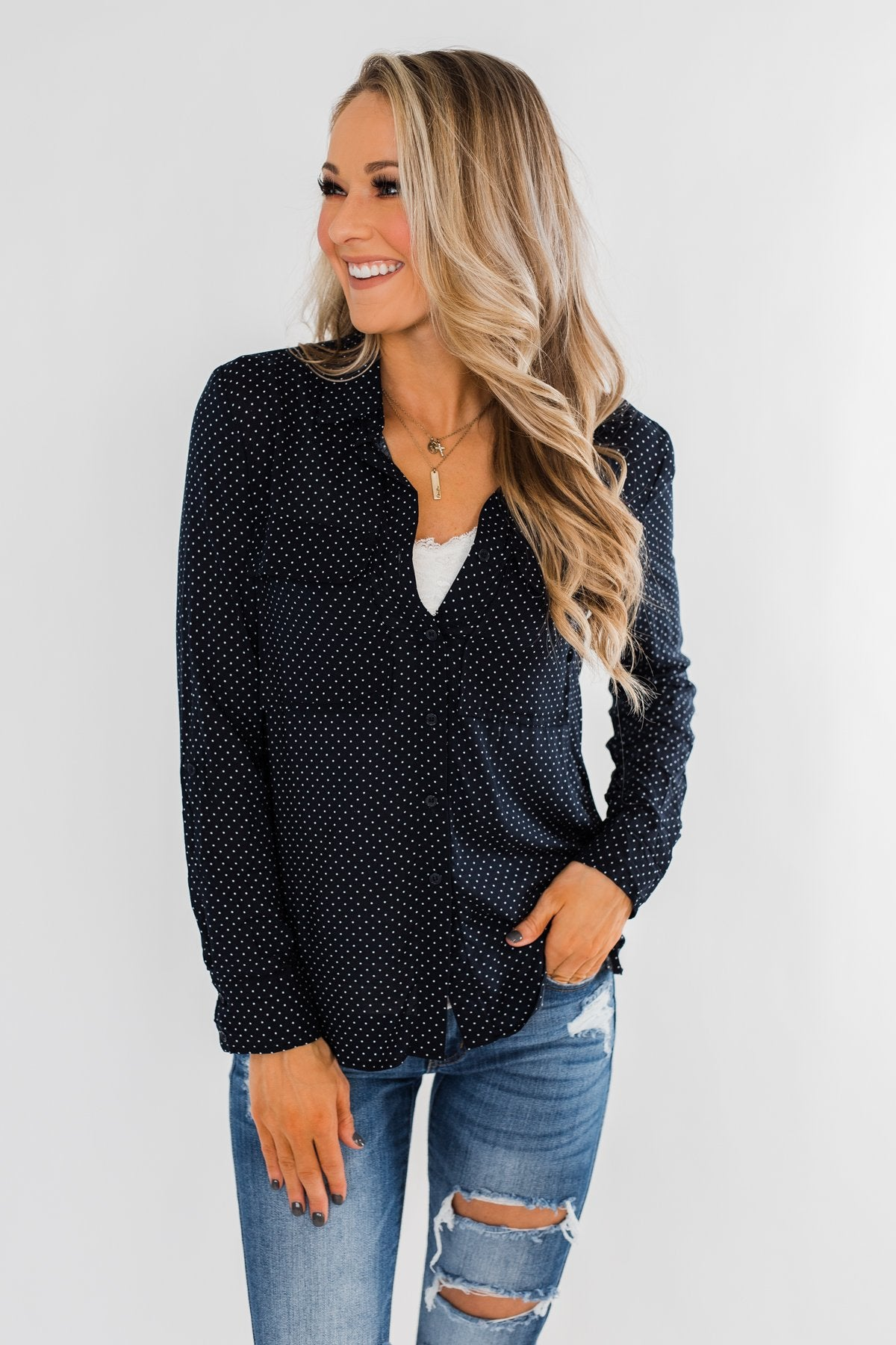 Perfect For Me Polka Dot Blouse- Navy