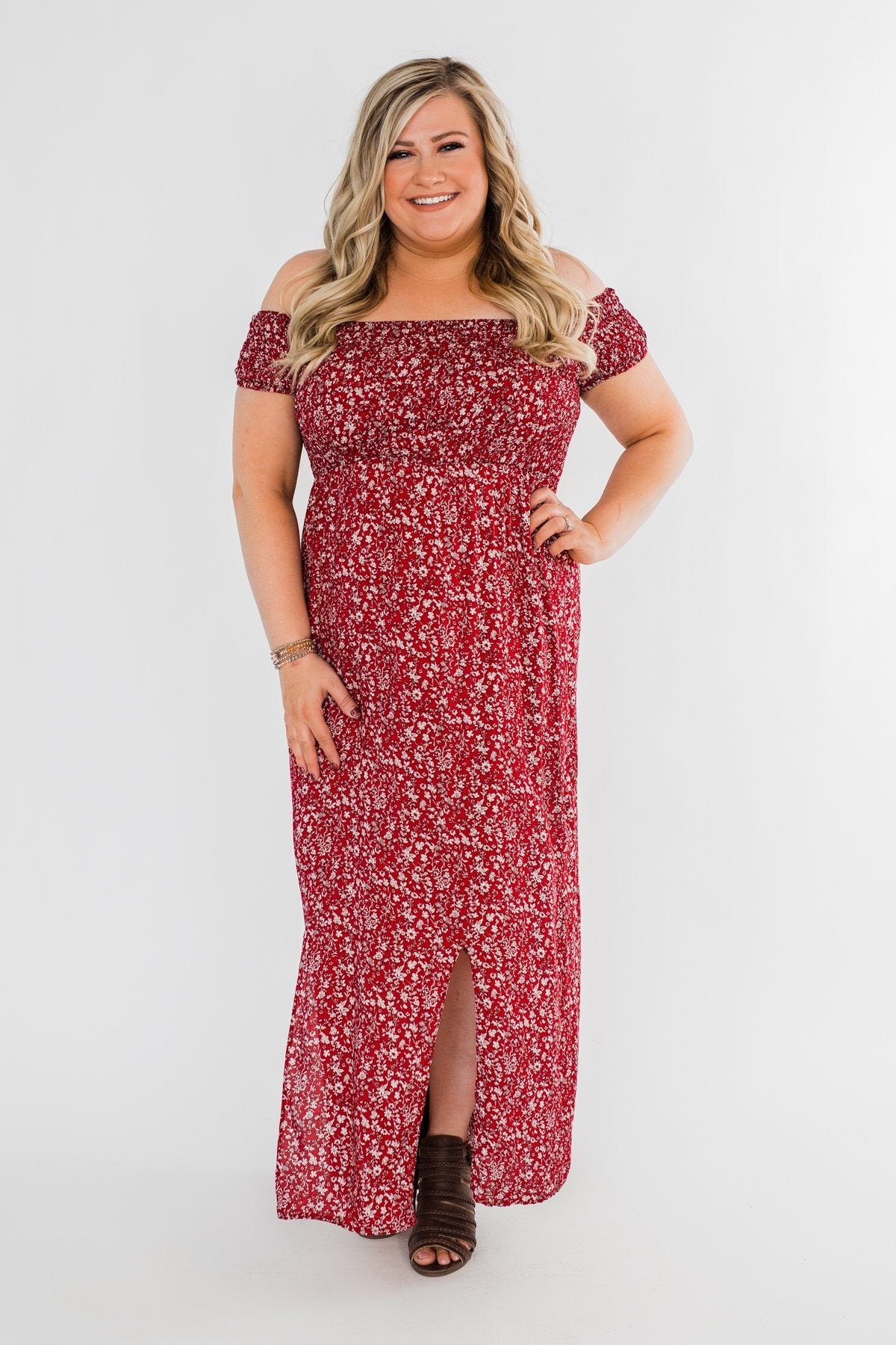 Beautiful Crazy Floral Dress- Red