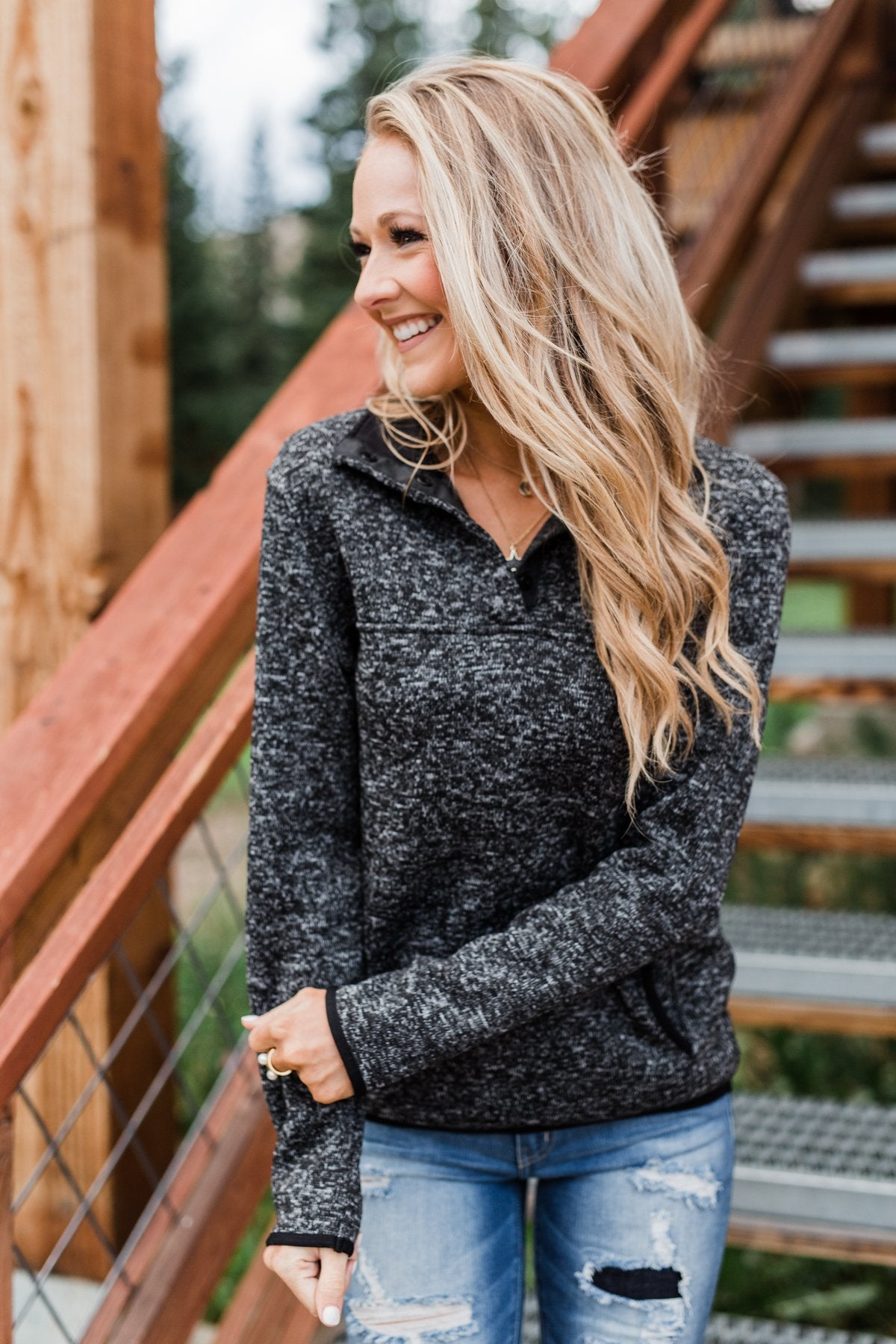 Pulse Exclusive Quarter Button Pullover- Charcoal