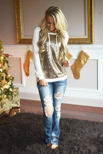 Glitter Hoodie ~ Gold & Ivory