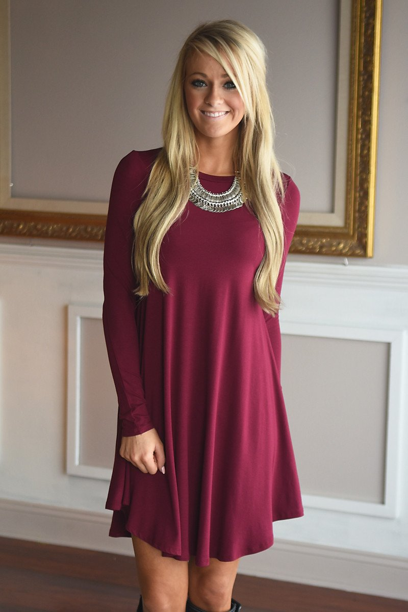 Simple Pleasures Dress ~ Dark Maroon