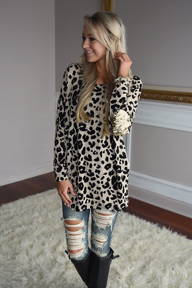 Sparkle On My Mind Leopard Top ~ Taupe