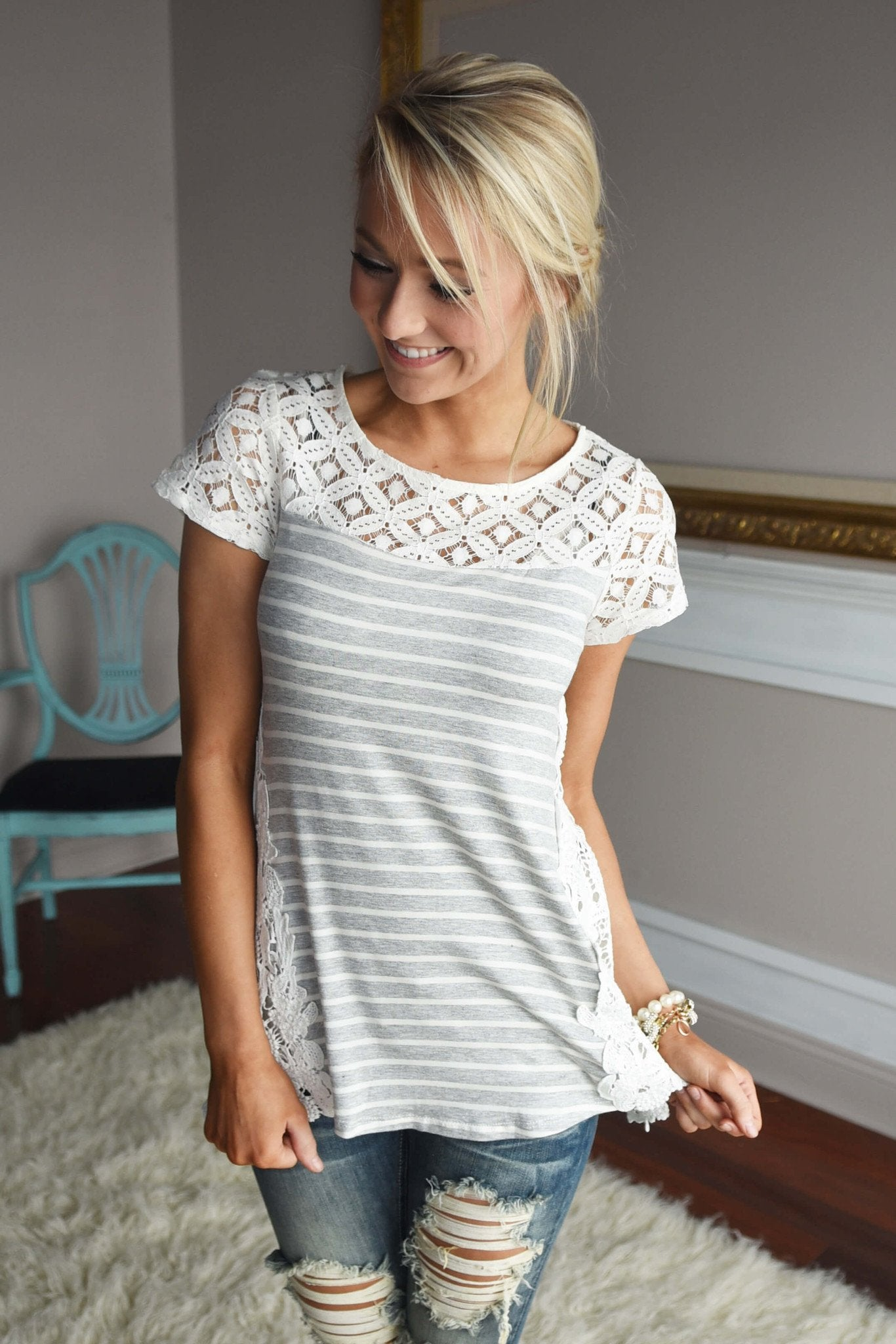 Stripes & Lace Top