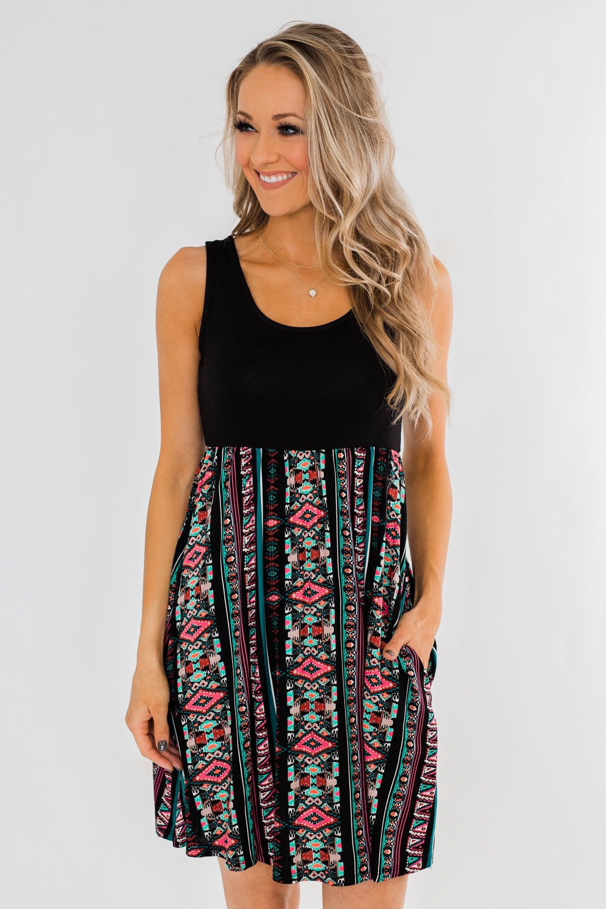 More Of You Aztec Dress- Black