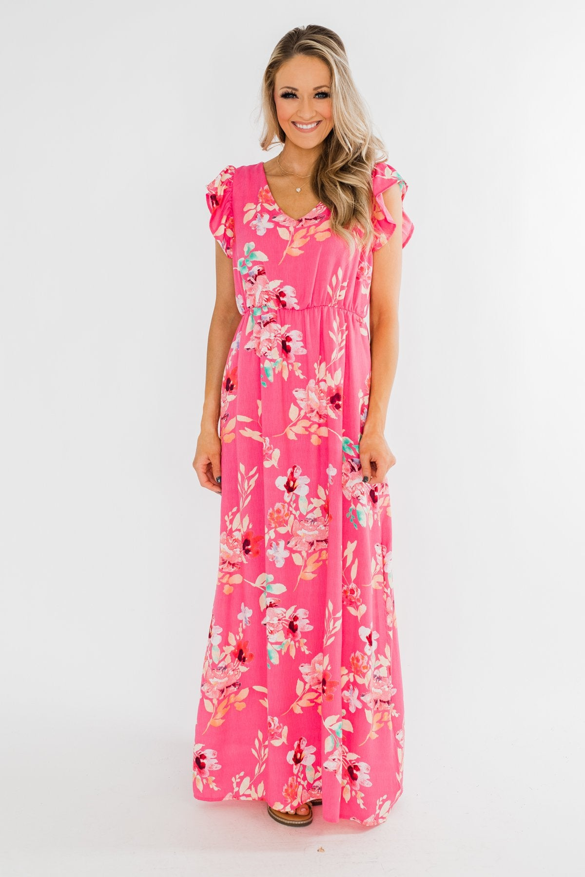 Look of Love Floral Maxi Dress- Pink