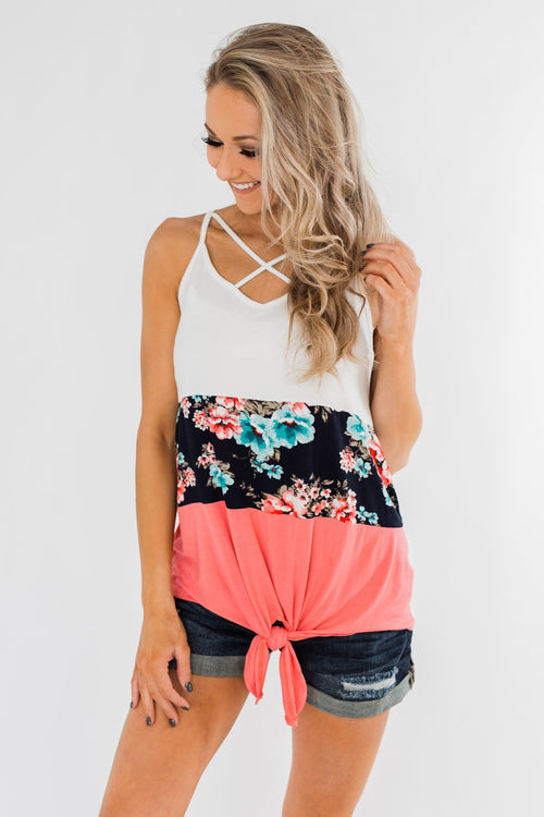 Come My Way Floral Color Block Tank Top- Pink