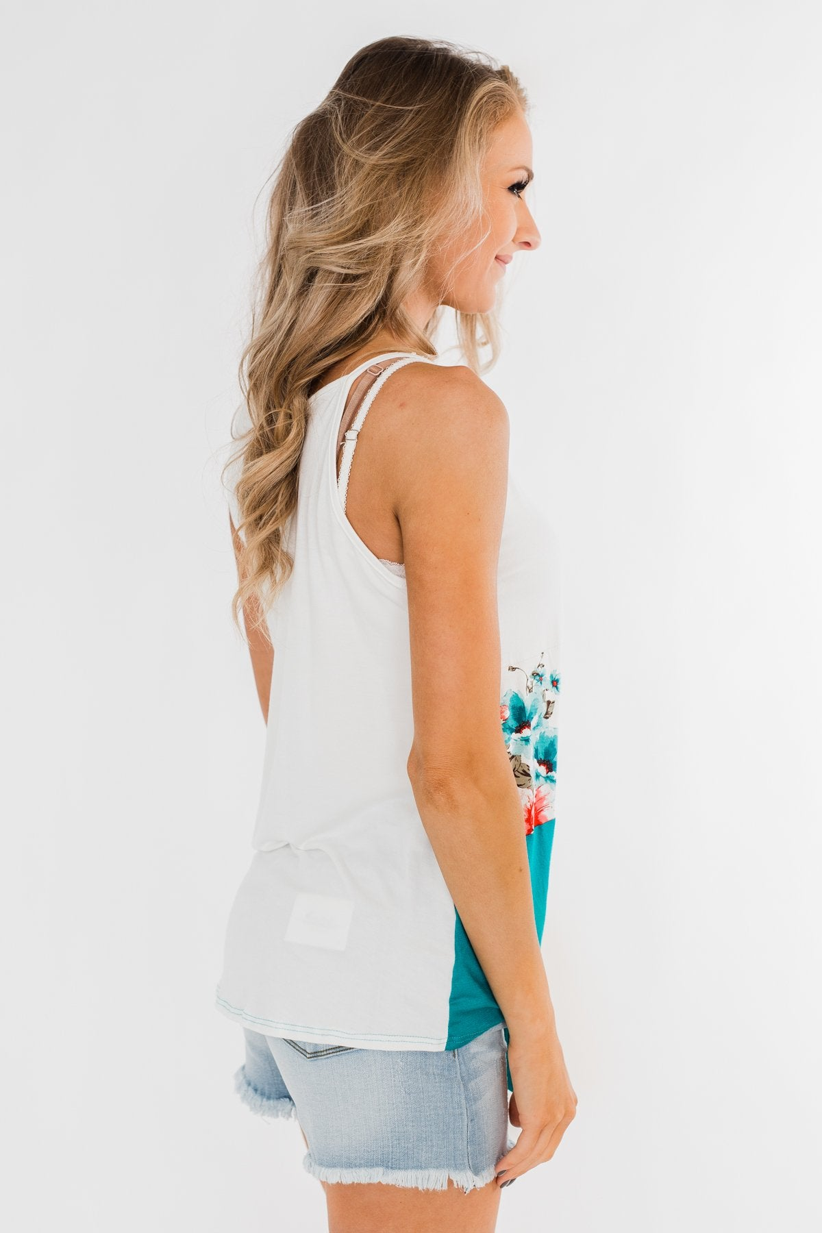 Come My Way Floral Color Block Tank Top- Teal
