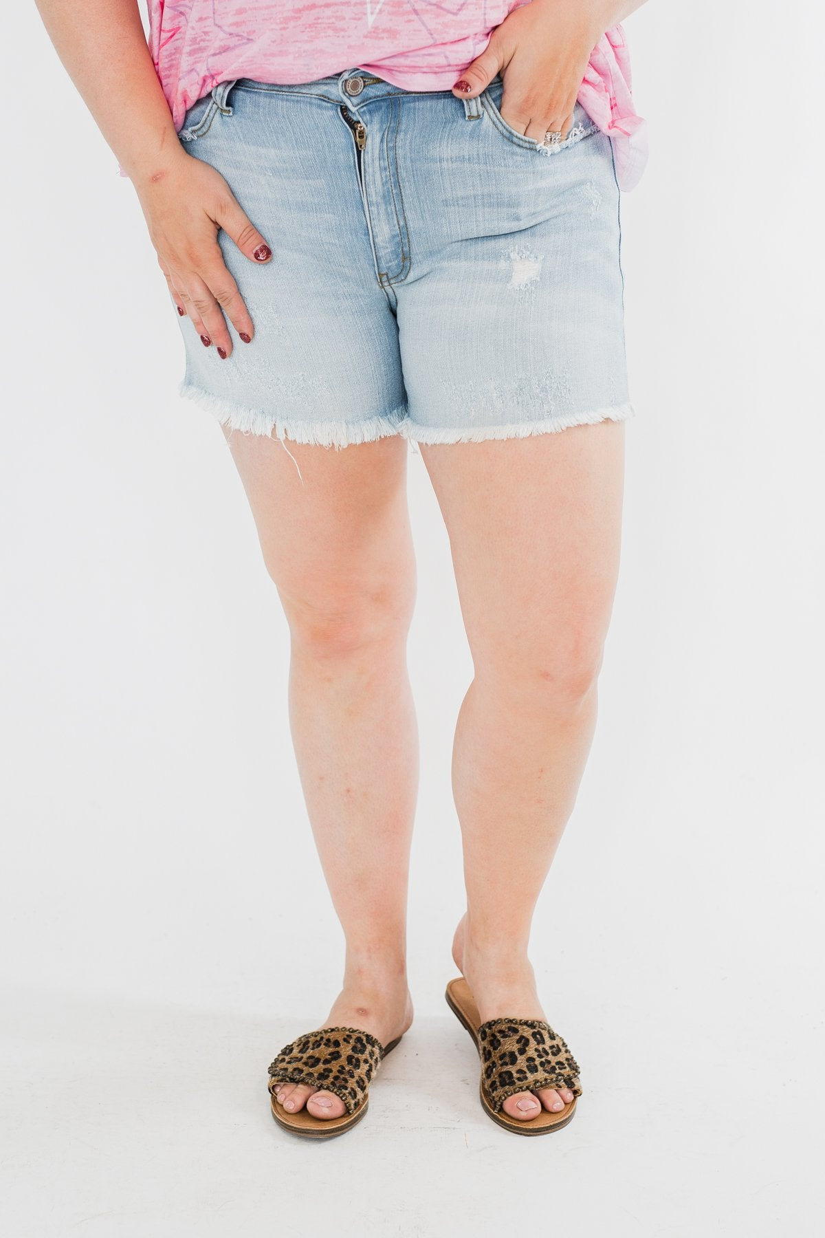 KanCan Raw Hem Shorts- Lucy Wash