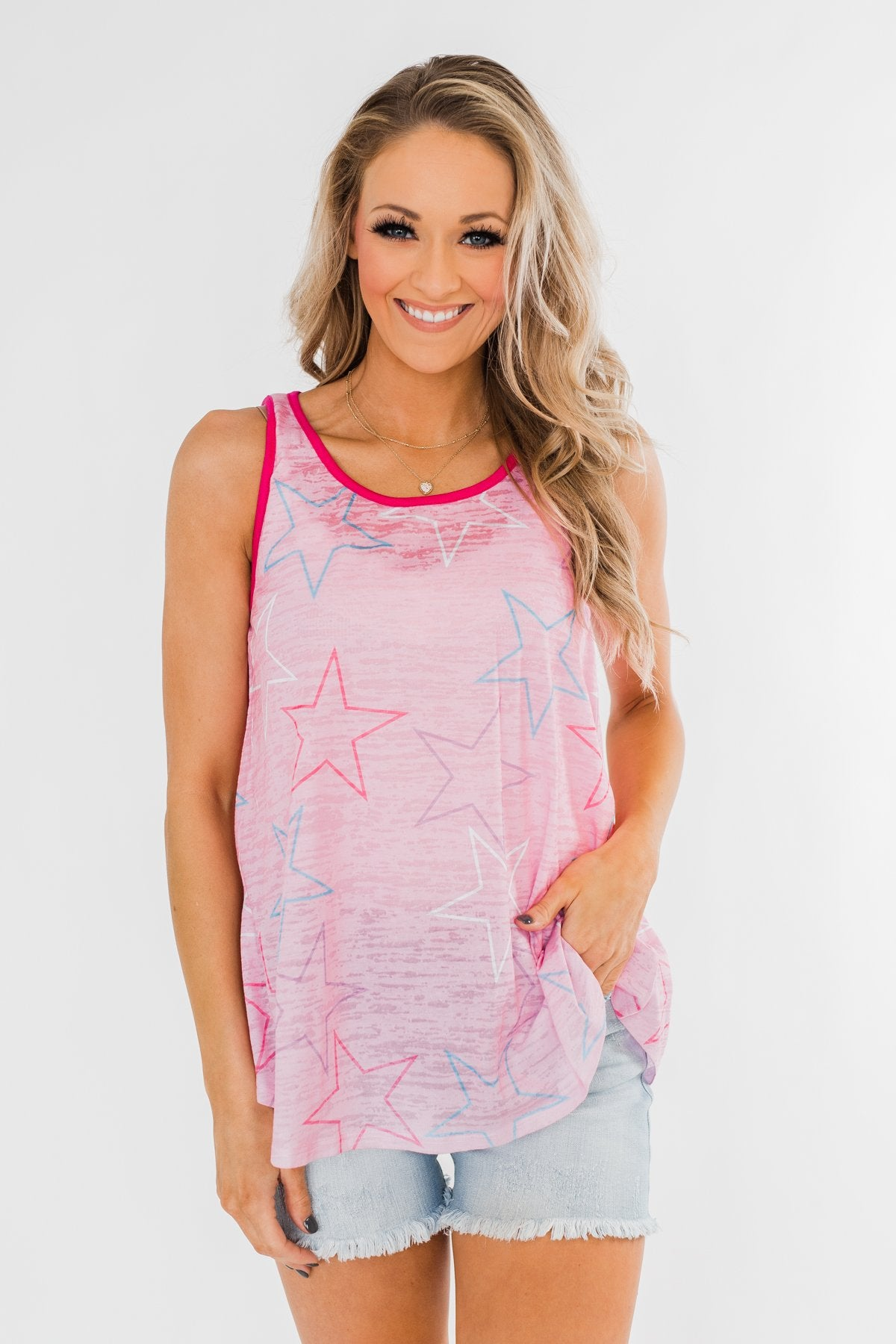 Multi-Colored Star Tank Top- Pink
