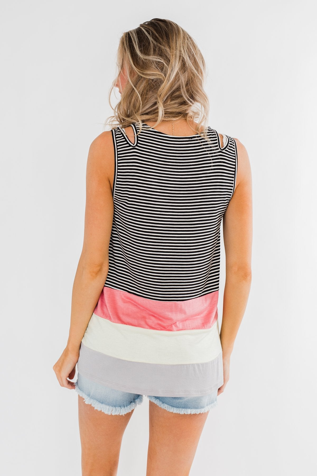 Double Strap Color Block Tank Top- Multi-Colored