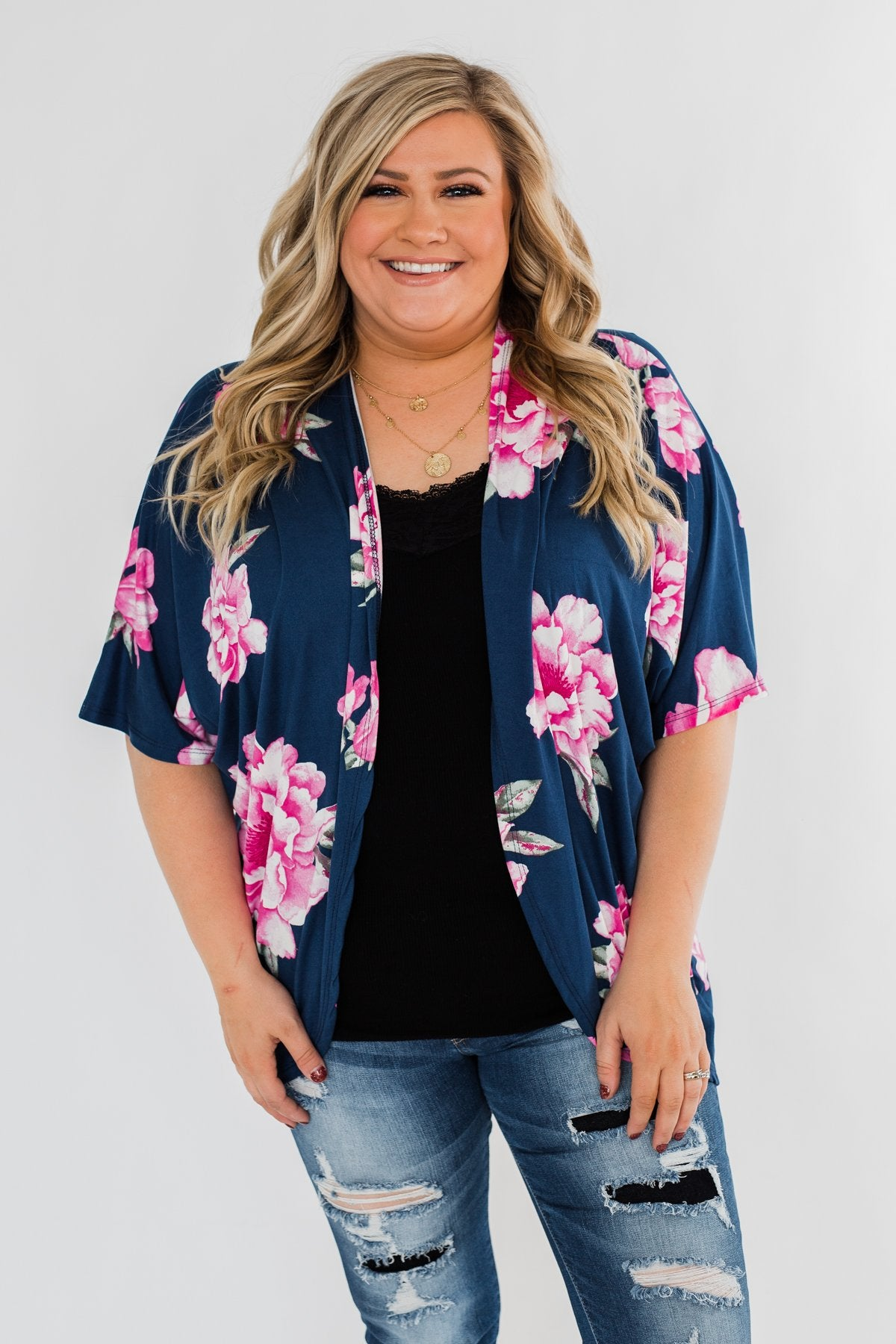 Forever With You Floral Kimono- Navy