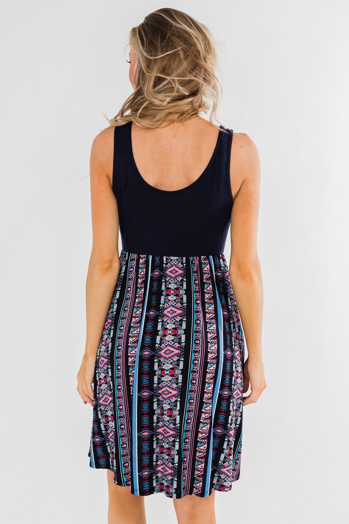 More Of You Aztec Dress- Navy
