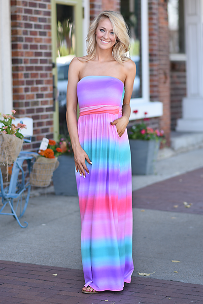 Sunrise in the Tropics Strapless Maxi Dress