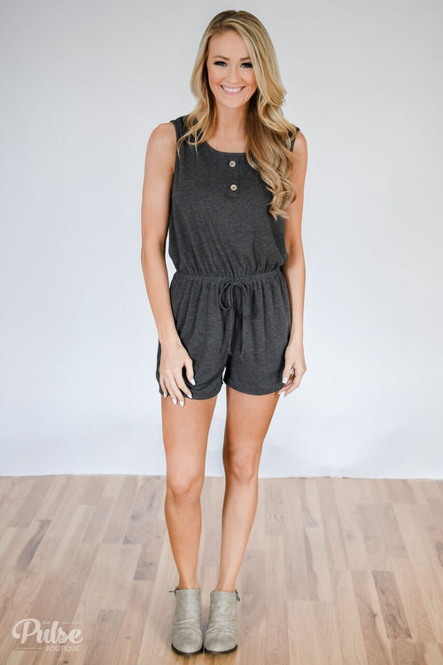 Roadtrip Ready Romper- Charcoal Outfit