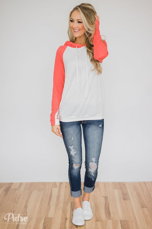 White & Coral Baseball Hoodie Outfit