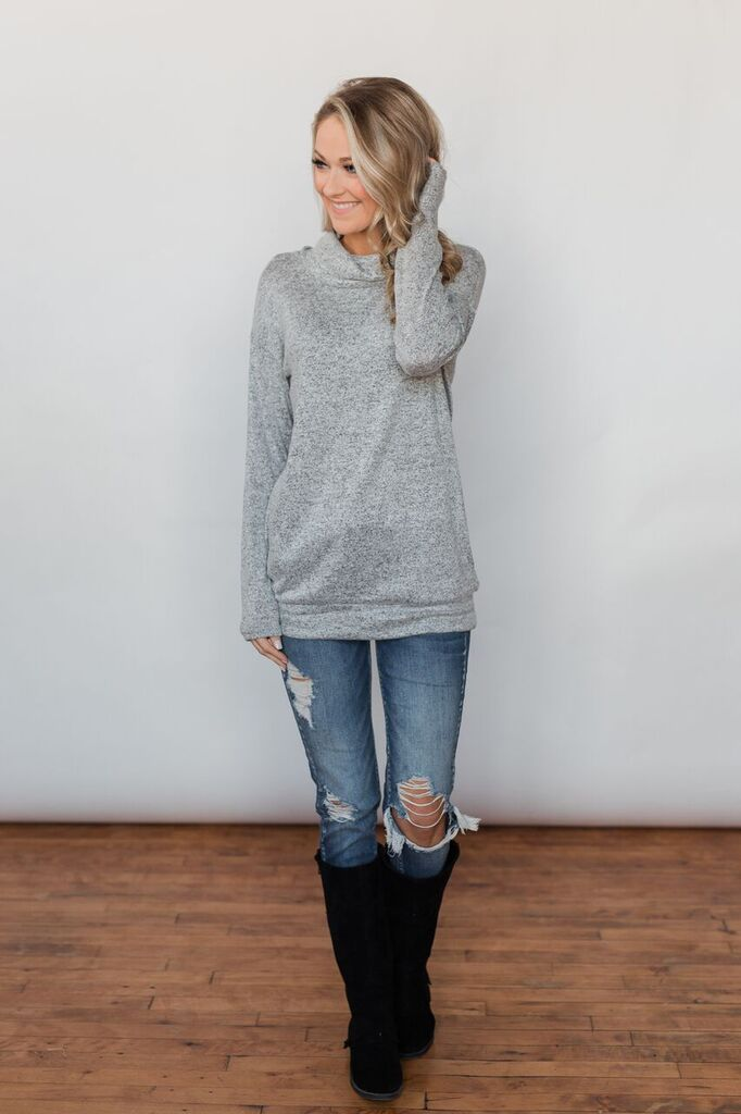 Bad At Love Cowl Neck Top- Heather Grey Outfit